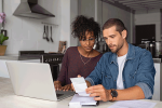 Couple does online banking